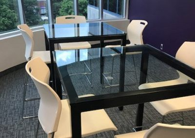 finished glass tables